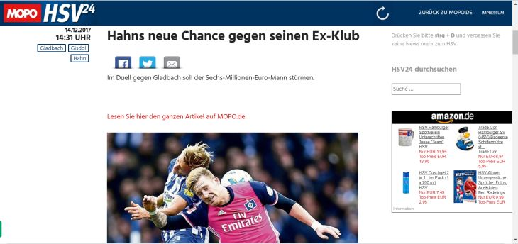 Screenshot Sport-Blog hsv24.mopo.de