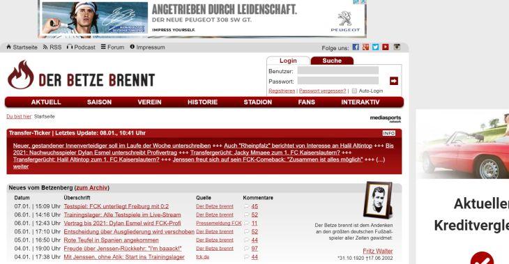 Screenshot Sport-Blog der-betze-brennt.de