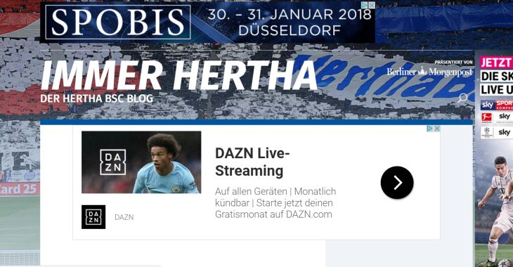 Screenshot Sport-Blog immerhertha.de