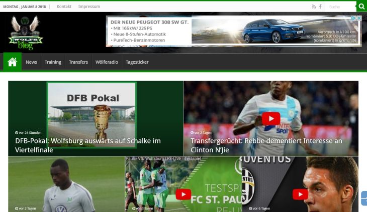 Screenshot Sport-Blog wolfs-blog.de