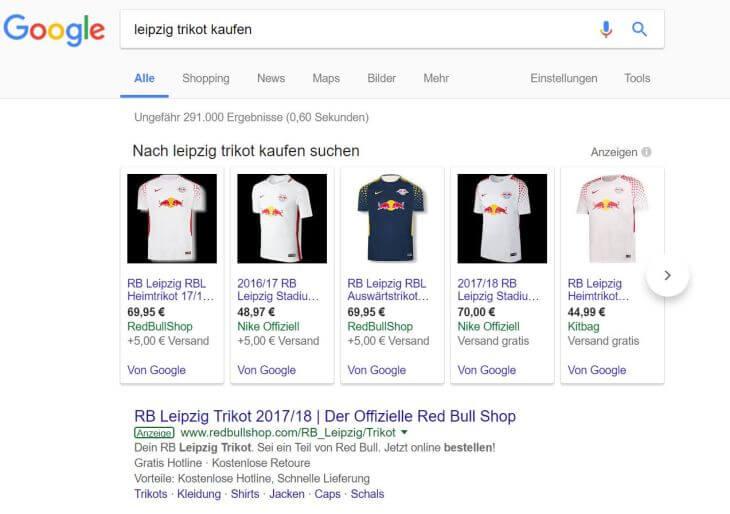 """Google AdWords-Anzeigen zum Keyword """"leipzig trikot kaufen"""""""
