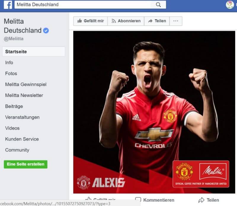 Screenshot Facebook-Seite von Melitta Deutschland