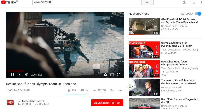 DB Olympia-Spot auf YouTube