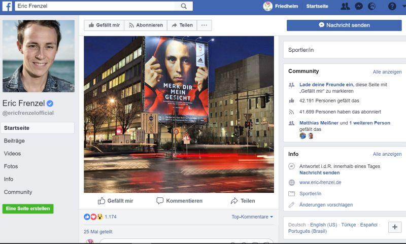 Facebook-Seite von Deutschlands Fahnenträger Eric Frenzel