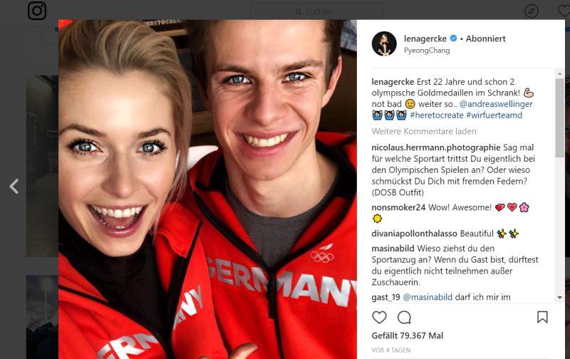 Lena Gercke mit Goldmedaillengewinner Andreas Wllinger (Quelle: instagram.com/lenagercke/)