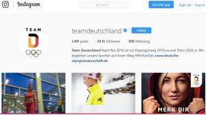 Instagram Account von Team Deutschland