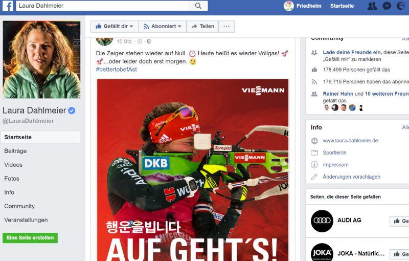 Facebook-Seite von Laura Dahlmeier