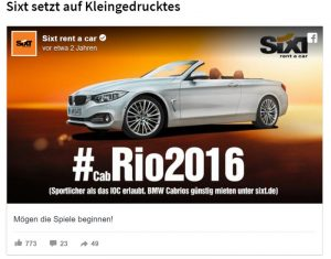 SIXT Werbung cabRIO2016