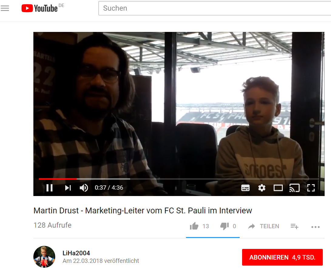 Screenshot YouTube LiHa Martin Drust