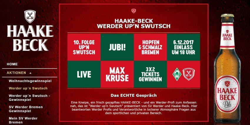 Werder Bremen Sponsoringpartner Haake Beck
