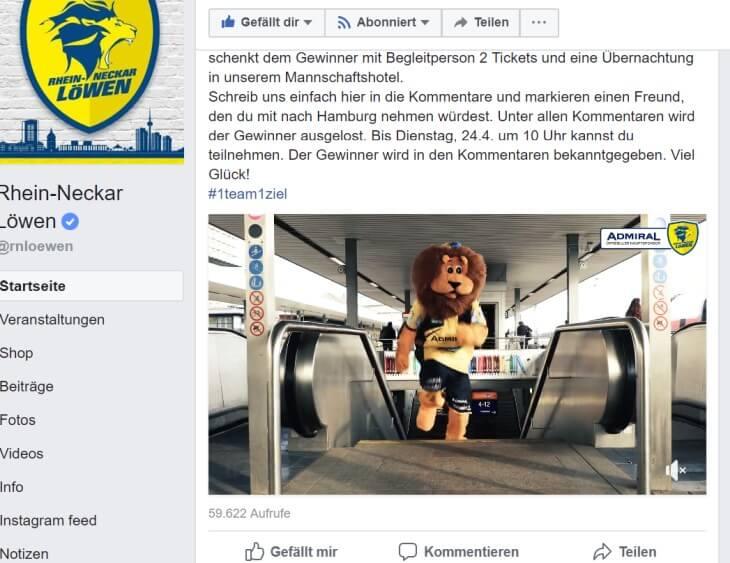 Einbindung Hauptsponsor Admiral auf Facebook von RNL