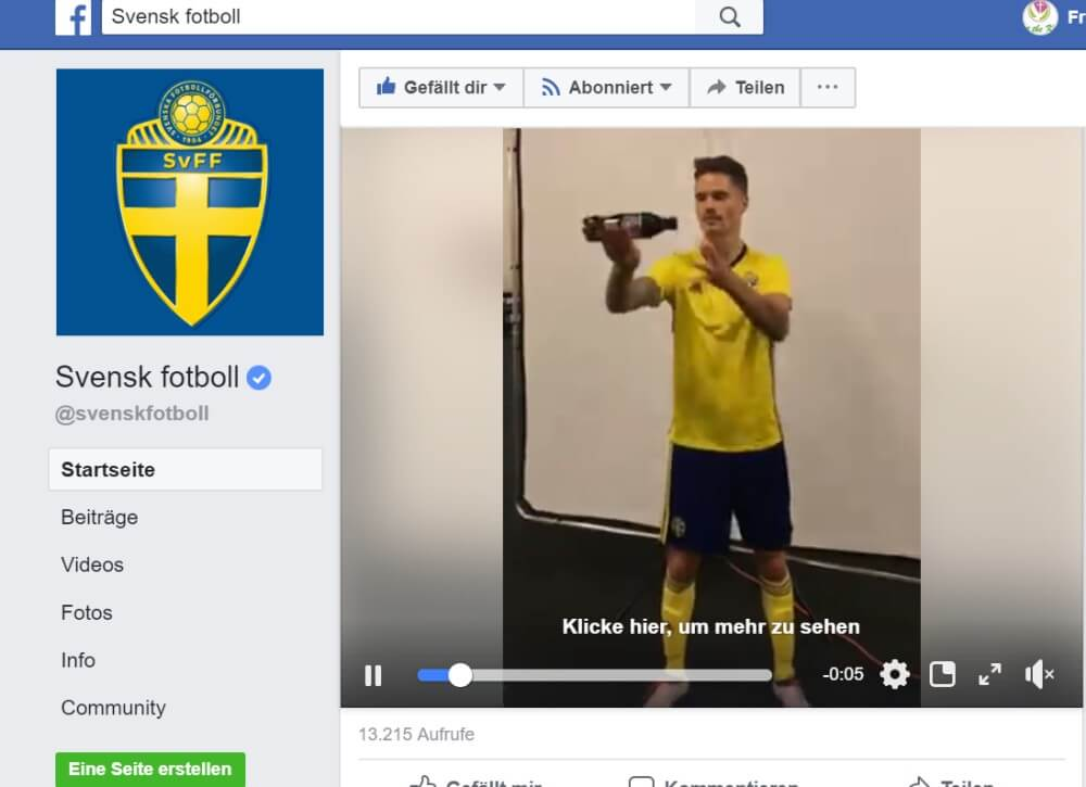 WM Sweden Facebook-Video