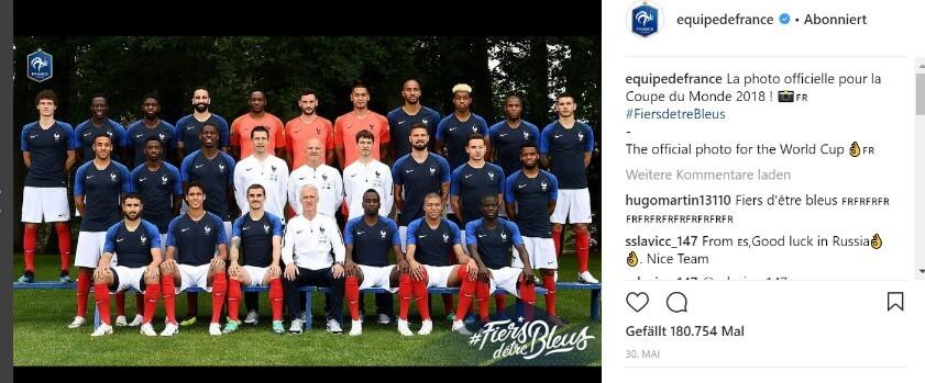 WM Instagram Frankreich-Team
