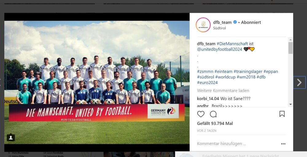 WM Instagram DFB-Teamfoto