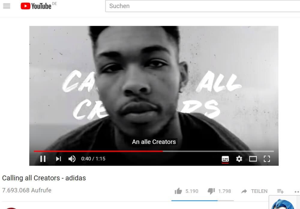 WM Adidas YouTube Werbung