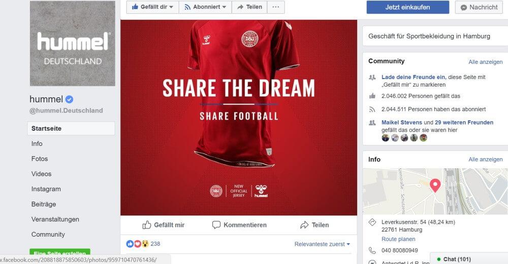 WM Facebook Dänemark Ausrüster Hummel