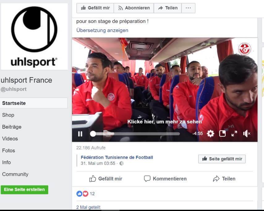 WM Ausrüster Uhlsport Tunesien Facebook