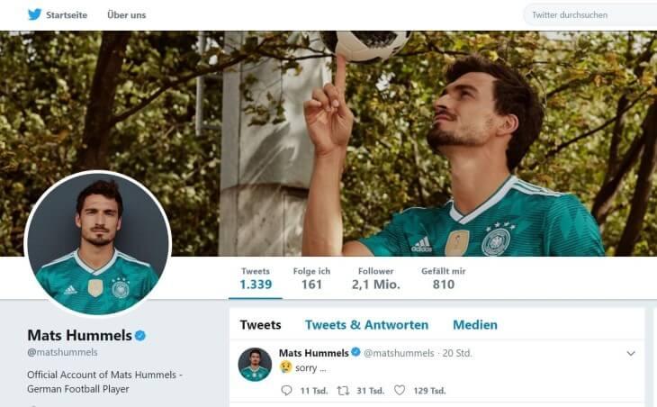 "Mats Hummels sagt ""Sorry"" via Twitter"