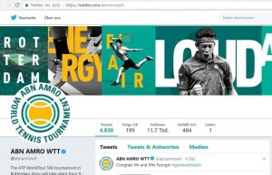 Twitter-Acount ABN AMRO World Tennis Tournament in Rotterdam