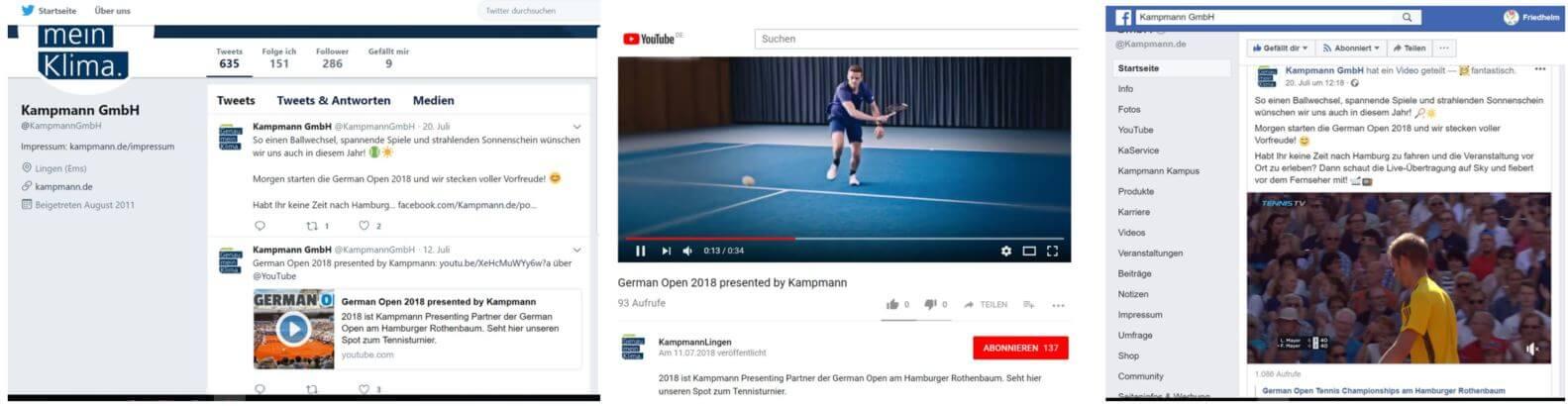 Social Media-Kanäle von Presentership-Sponsor Kampmann