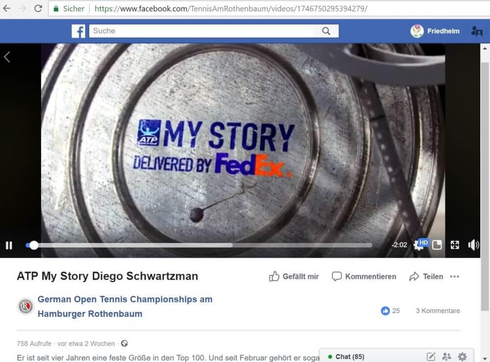 FedEx-Werbung auf dem Facebook-Account vom Rothenbaum-Turnier