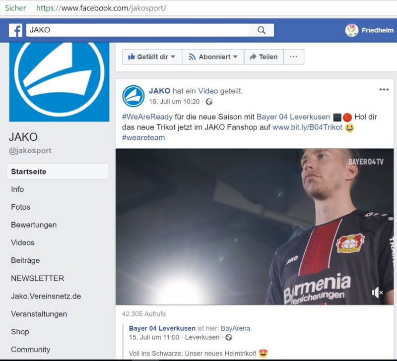 Video-Post von JAKO: neues Trikot von Bayer 04 Leverkusen