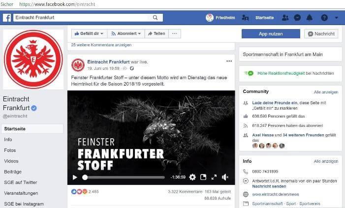 """Facebook Eintracht Frankfurt: Facebook: Video mit Claim """"Feinster Frankfurter Stoff"""""""