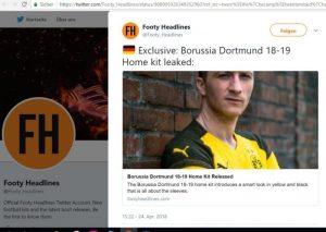 Schlagzeile: Home kit leaked von Borussia Dortmund