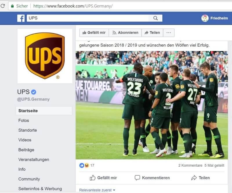 UPS auf Facebook: Partner des VfL Wolfsburg