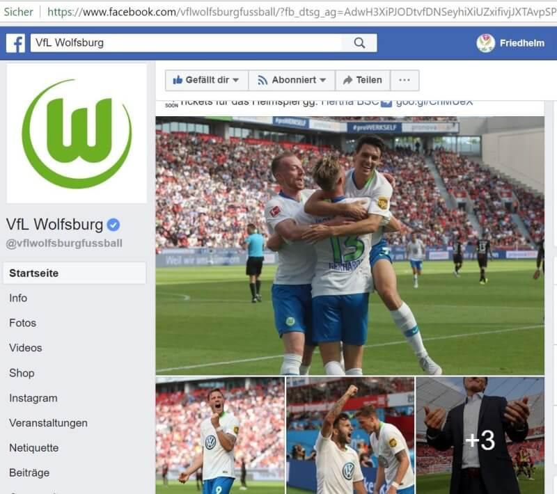 VfL Wolfsburg auf Facebook
