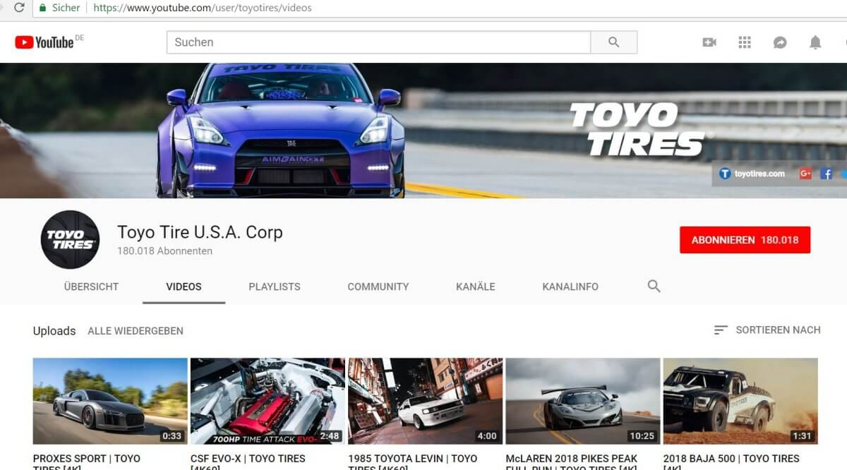 Toyo Tires YouTube