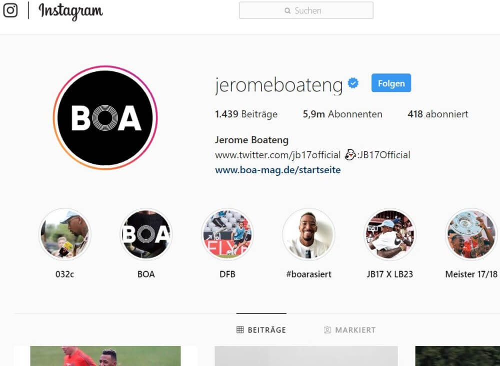 Instagram-Account von Jerome Boateng
