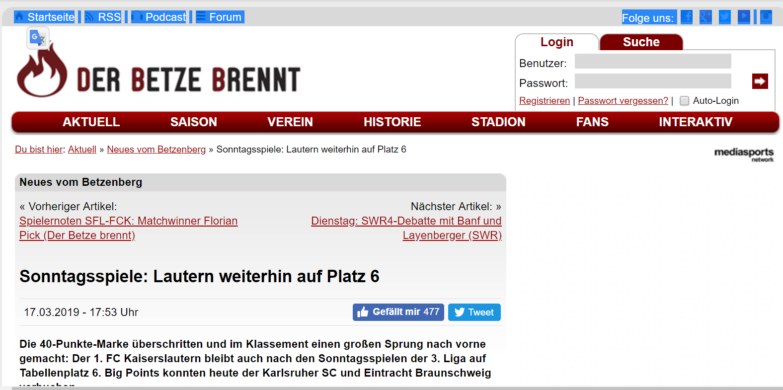 Screenshot von Website