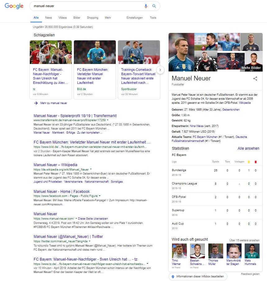 Screenshot von SERP Manuel Neuer