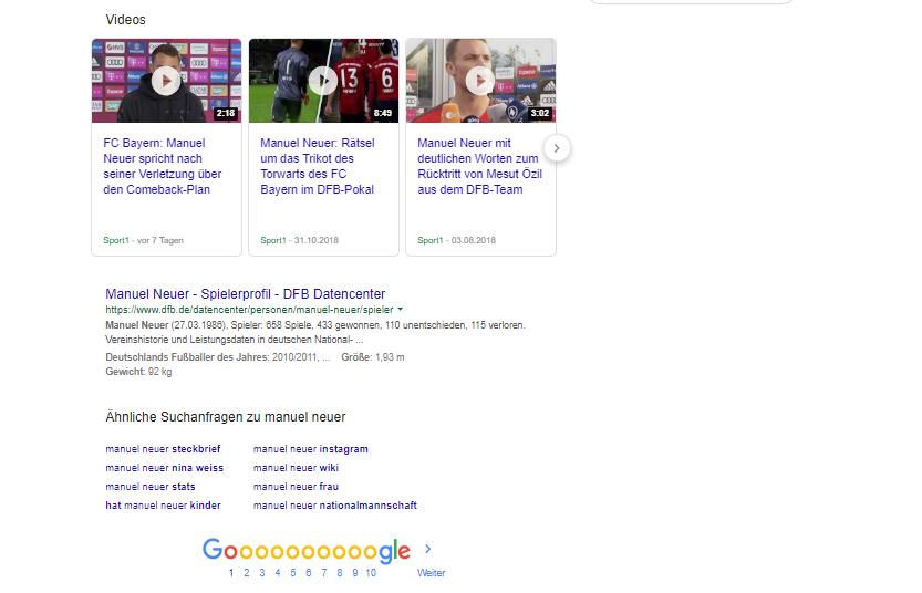 Screenshot SERP von Manuel Neuer