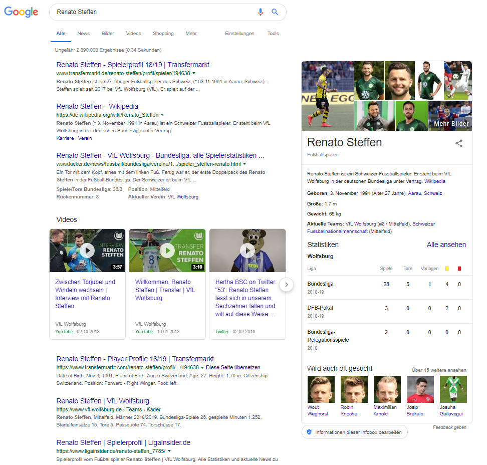 Screenshot SERP Renato Steffen