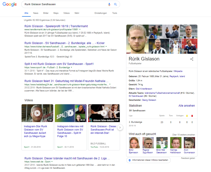 Screenshot SERP für Rurik Gislason Sandhausen