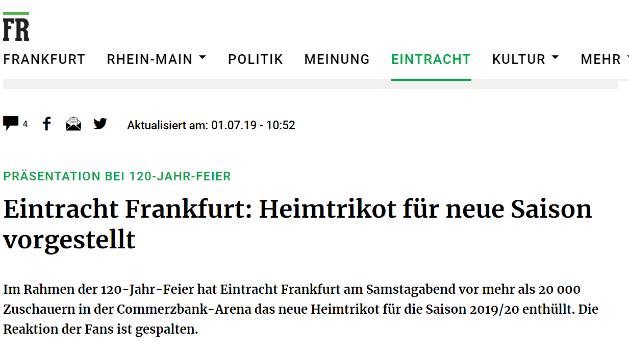 Vorstellung Heimtrikot Eintracht Frankfurt