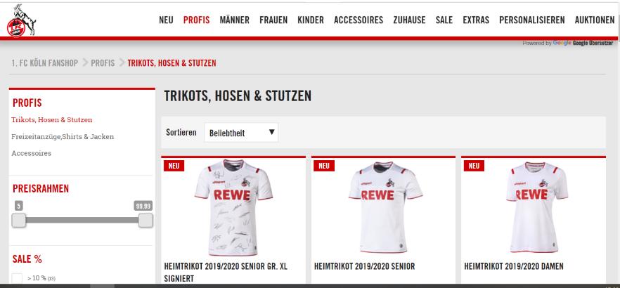 Übersicht der Trikotkollektion im Online-Shop des FC Köln