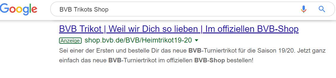 Google Suchergebnis zeigt Google Ad von Borussia Dortmund