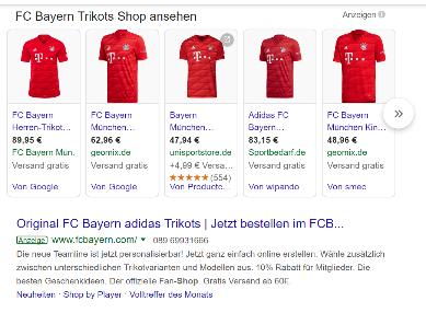 Google Shopping Anzeige des FC Bayern München