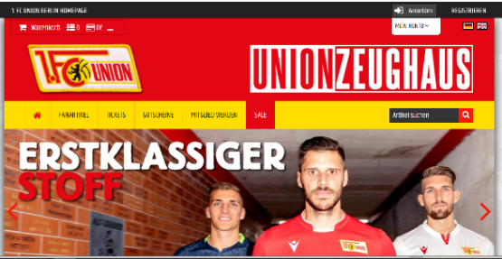 Startseite des Union Berliner Online-Shops