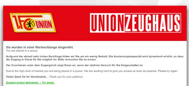 Warteschleife im Unioner Online-Shop