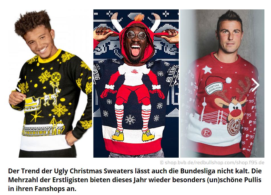 Fussballspieler in Weihnachts Pullovern