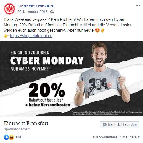 Screenshot von Eintracht Frankfurt bei Facebook