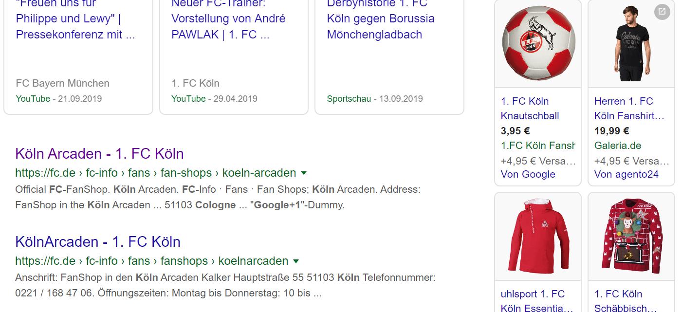 Screenshot Suchergebnis Google Shopping beim 1. FC Köln