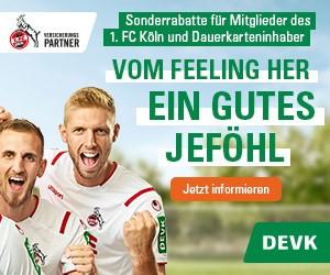 Werbebotschaft der DEVK im Umfeld des 1. FC Köln