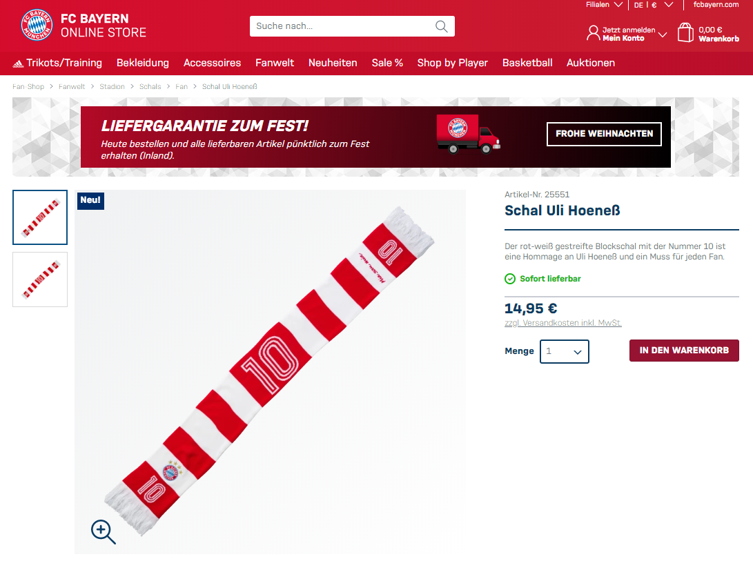 FC Bayern Shop Schal Uli Hoeness