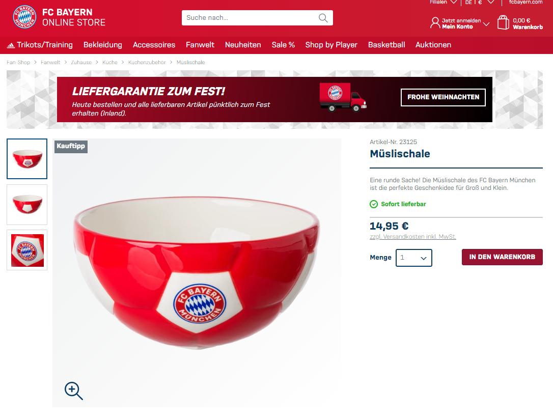 Müslischale im FC Bayern Fanshop