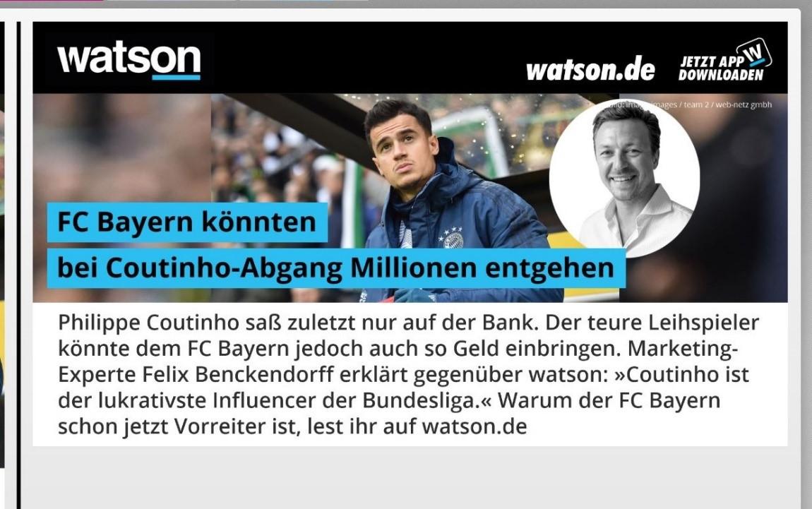 Philippe Coutinho und Felix Benckendorff bei watson